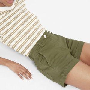 Everlane Olive Cotton Twill High Rise Shorts 0